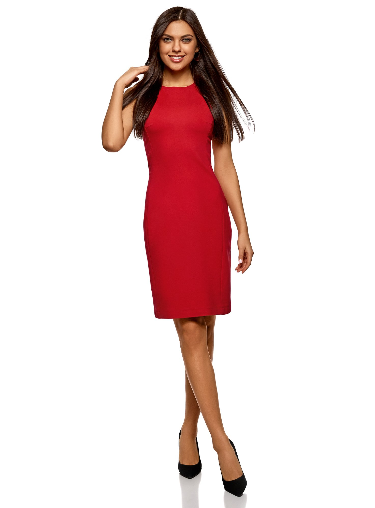 oodji Ultra Women's Zippered Bodycon Dress, Red, 6