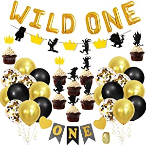 JOYMEMO Wild One Birthday Decorations with Letter Foil Balloons, High Chair Banner and Cupcake Toppers for Boys