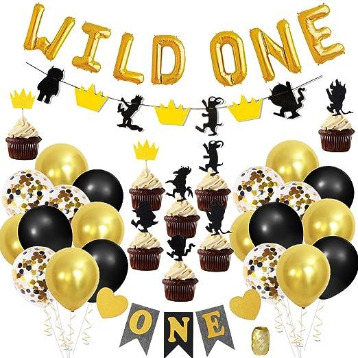 Decoraciones de cumpleaños de Wild One con globos de letras ...