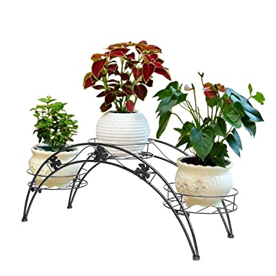 Dazone Arch Metal Potted Plant Stand with 3 Holders Potted Plant Rack Organizer (Black) : Garden & Outdoor