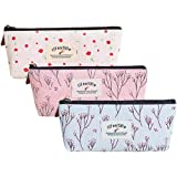 Merryoung Pencil Pouch Canvas Foral Zipper Pencil Case Student Stationery Bag Small Cute Cosmetic Makeup Bags Coin Purse for Girls Women, Set of 3