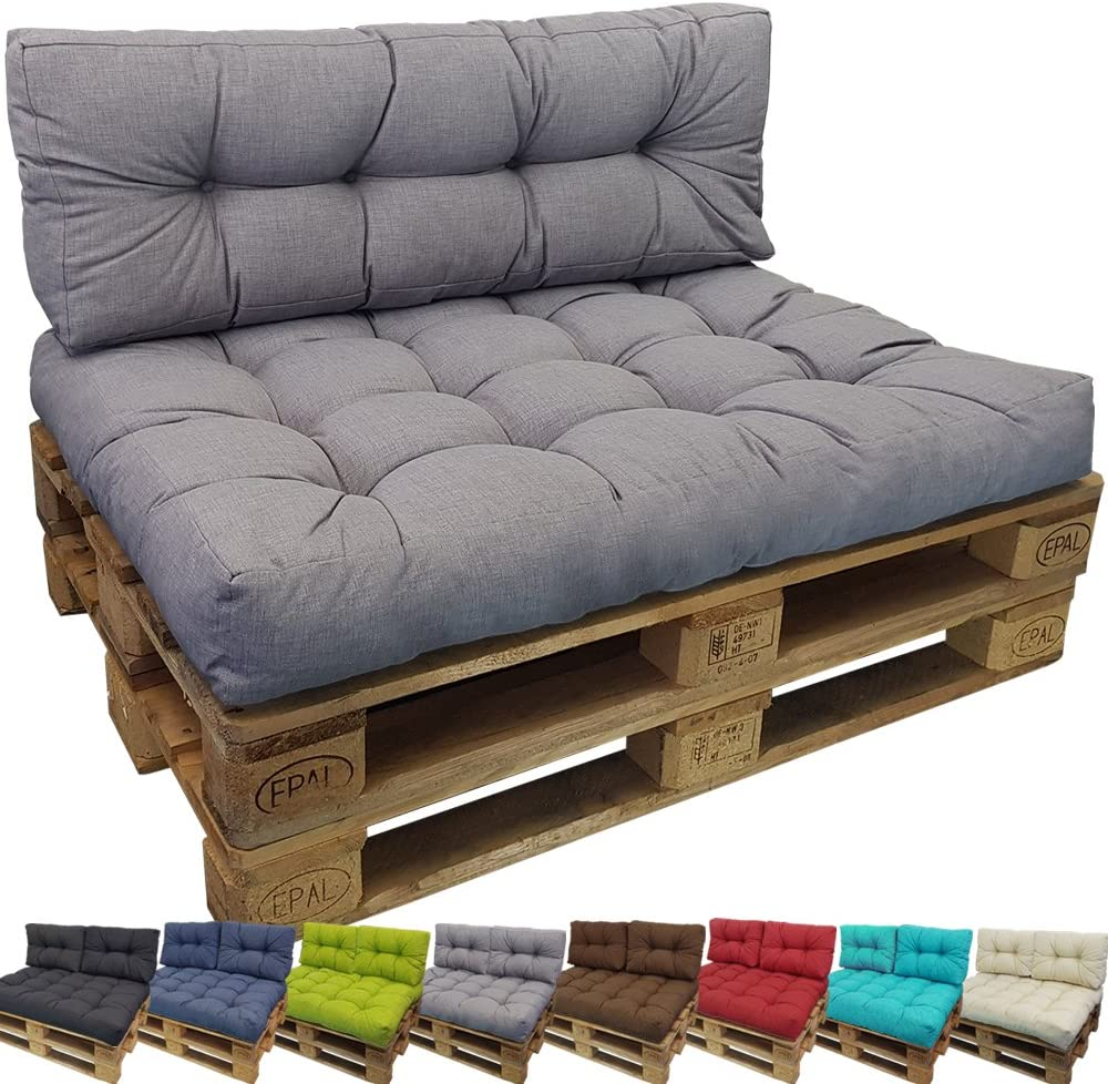 DILUMA Cojin para palés Confort - Cojin de Asiento o Respaldo para sofás palets - Repelente a Las Manchas (NO ES UN Set!), Color:Gris, Variante:1x Cojín De Respaldo 120x40 cm
