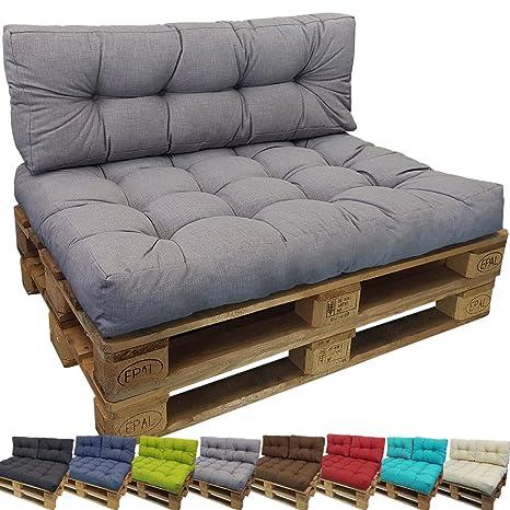 PROHEIM Cojin Palés Tino Lounge - Cojin De Asiento O Respaldo para Sofás Palets - Repelentes A Las Manchas (No Es Un Set), Color:Gris, Variante:1 ...