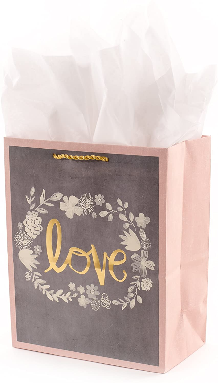 """Hallmark 9"""" Medium Gift Bag with Tissue Paper (Gray, Pink, Gold Love) for Weddings, Bridal Showers, Engagements and More"""