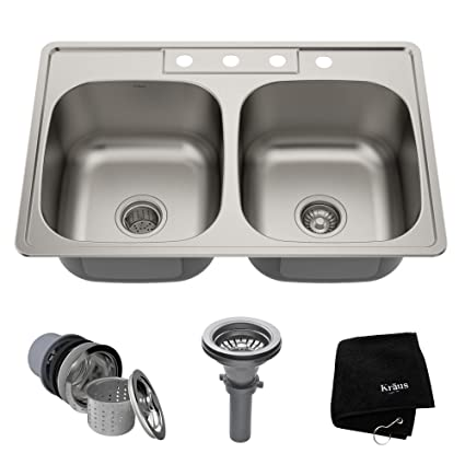 e1a3f8c778 Kraus KTM33 33 inch Topmount 50/50 Double Bowl 18 gauge Stainless Steel  Kitchen Sink - - Amazon.com