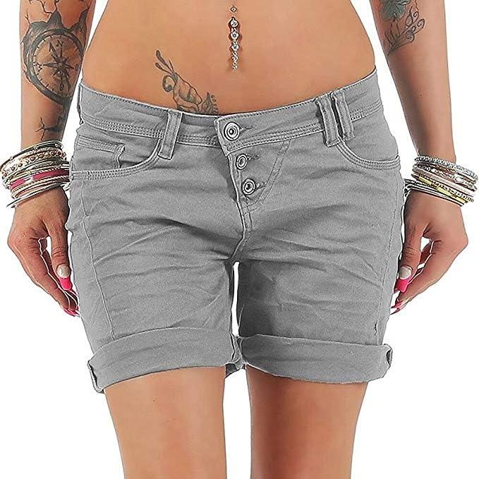 f7efffad0 Pantalones Cortos de Mezclilla Ocasionales de Las Mujeres Botones de Cintura  Alta Jeans Cortos Puros Summer Hot 2018  Amazon.es  Ropa y accesorios