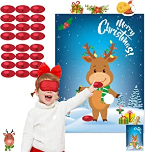 Funnlot Christmas Games for Kids Pin The Nose On The Reindeer Christmas Pin Game Xmas Activities Christmas Party Favors Gift Christmas Party Supplies for Kids New Year Party Favor Supplies