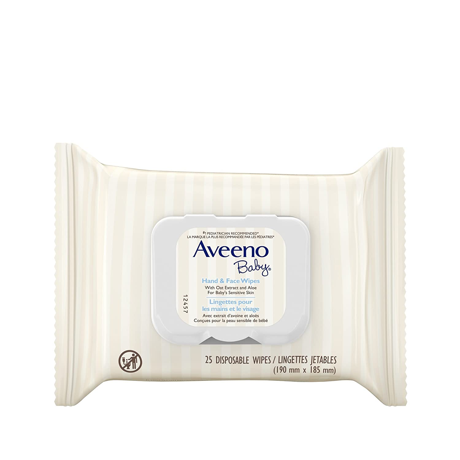 Aveeno Baby Wipes for Hand and Face with Oat Extract and Aloe for Sensitive Skin, 25 wipes Johnson & Johnson
