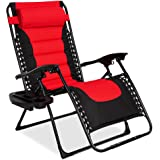 Best Choice Products Oversized Padded Zero Gravity Chair, Folding Outdoor Patio Recliner for Backyard, Beach w/Headrest, Side