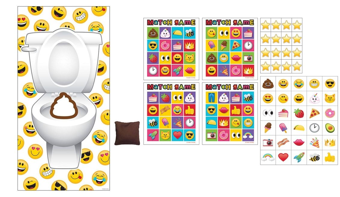 2 Awesome EMOJI Party Games - Emoji Bingo Game + Emoji Doorway Beanbag Toss Game- Kids Children's Activity - Classroom - School Daycare