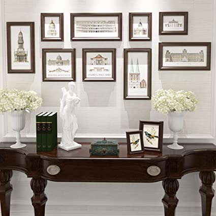 Amazon.com: ALUS- 9 Multi Photo Frames Set Mediterranean Style Wood ...