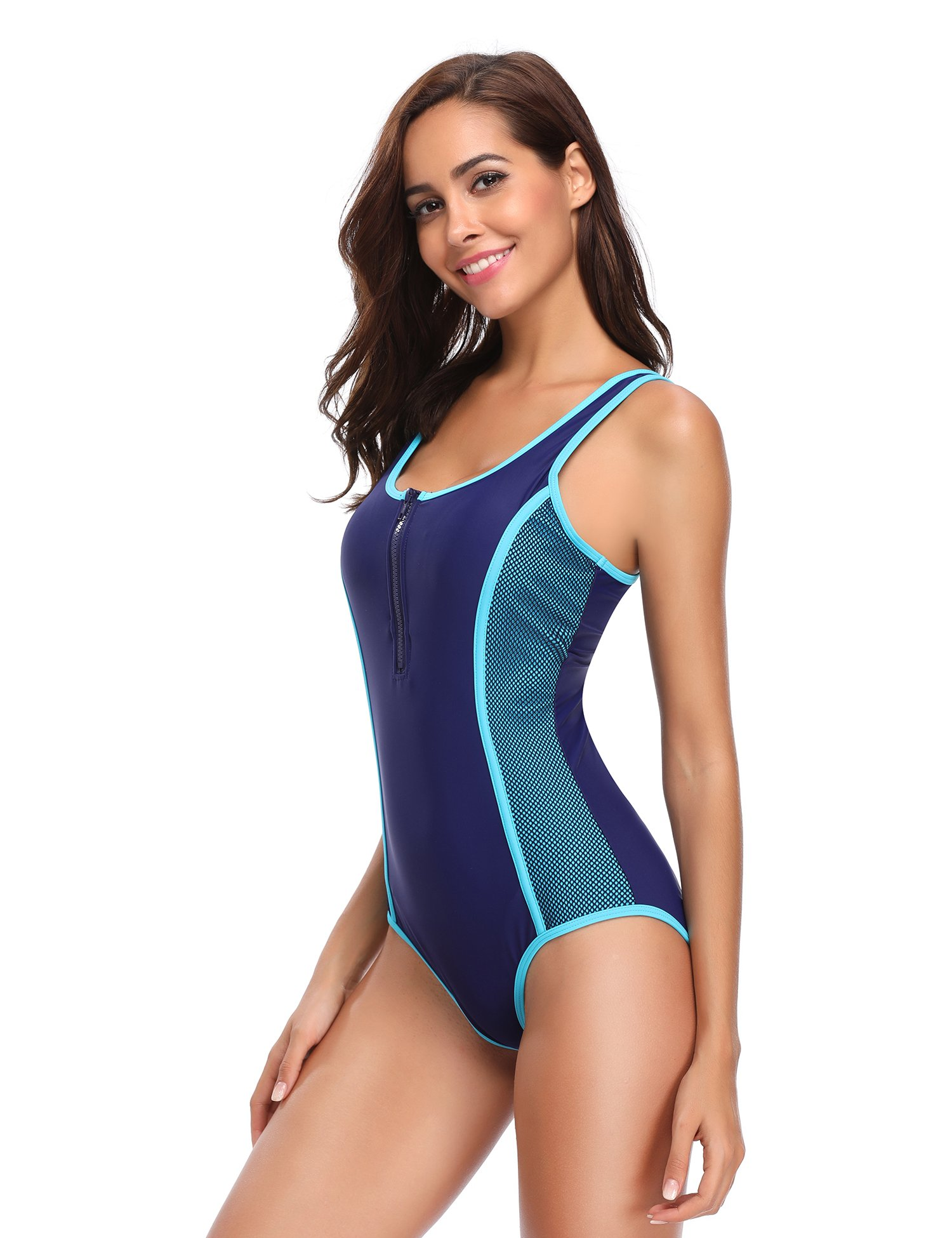 LALAVAVA One Piece Sport Racing Training Zip Front Swimsuits for Women (Lake Blue/Navy, L)