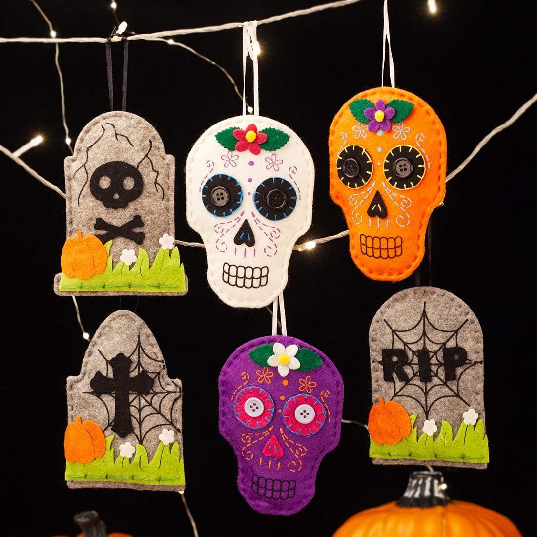 EDLDECCO Halloween Ornaments Set of 6 Home Decorations Skull Tomb Felt Door Window Wall Indoor Outdoor use Party Supplies Hanging Decor