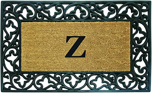 Nedia Home Acanthus Border with Rubber Coir Doormat, 30 by 48-Inch, Monogrammed Z