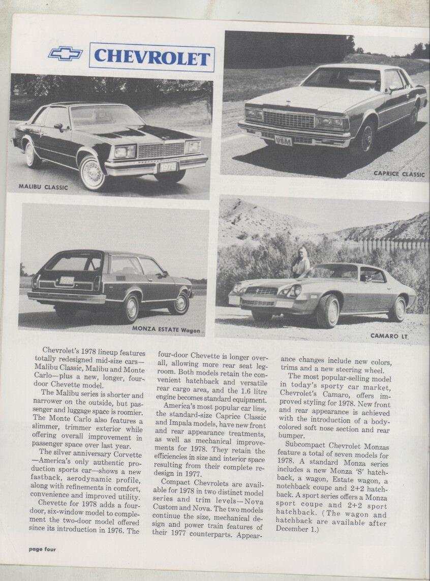 1978 Chevrolet Pontiac Oldsmobile Buick Cadillac Gmc Camaro Brochure Magazine Entertainment Collectibles