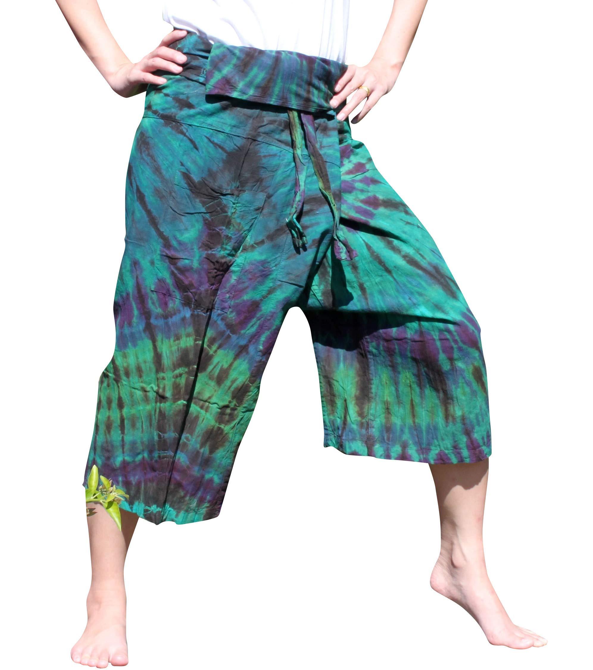 Full Funk Cotton Tie Dyed Natural Colorful Thai Fisherman Wrap 3/4 Leg Pants, Medium, Bottle Green by Full Funk