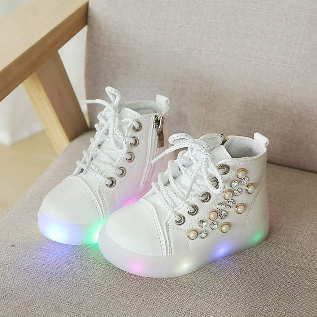 Kauneus Baby Girls Fashion Rhinestone Ankle Boots LED Light-up Shoes Lace Up Side Zipper High Top Sneakers Short Boot