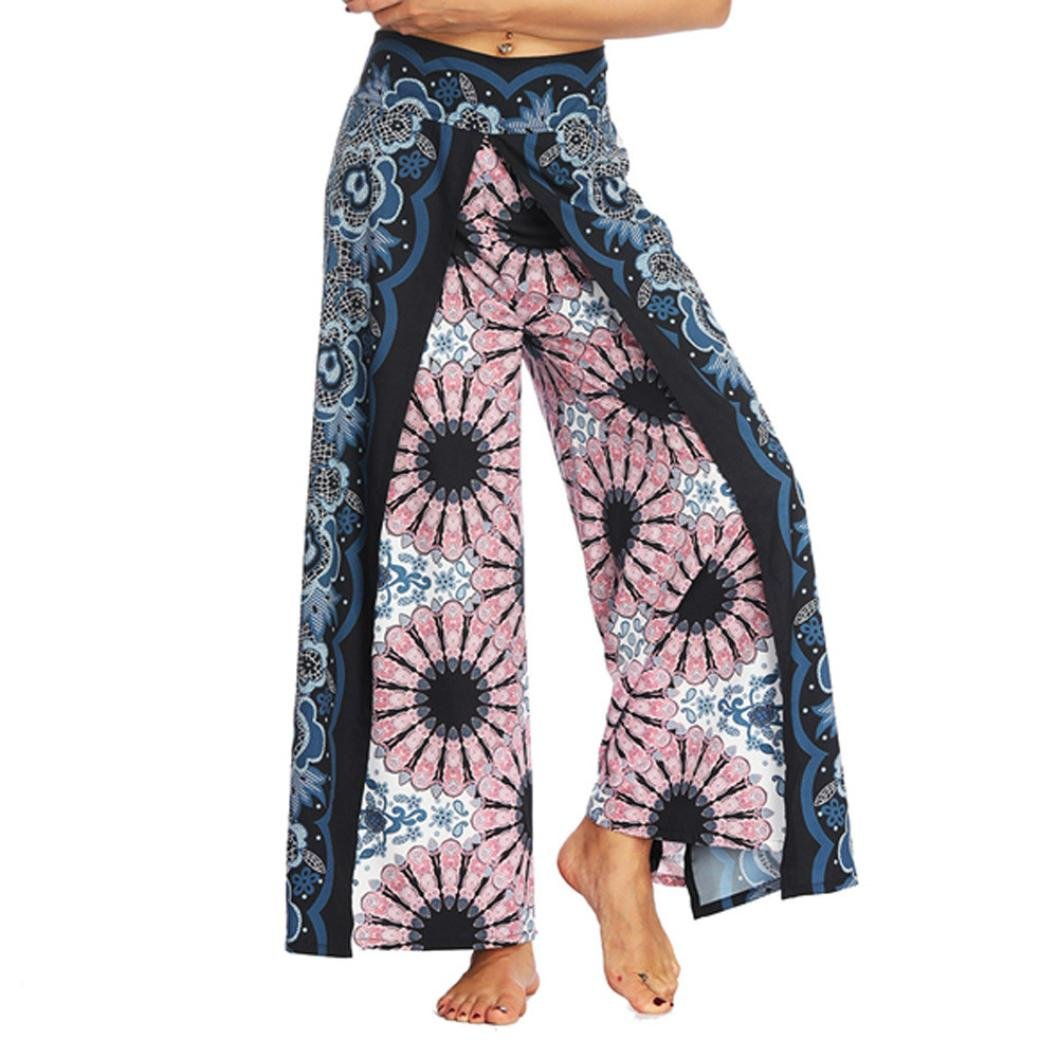 vermers Clearance Womens Boho Pants Women Casual Summer Loose Yoga Trousers Baggy Aladdin Harem Pants(M, Pink)