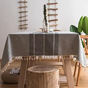 ColorBird Stitching Tassel Tablecloth Heavy Weight Cotton Linen Fabric Dust-Proof Table Cover for Kitchen Dinning Tabletop Decoration (Rectangle/Oblong, 55 x 120 Inch, Gray)
