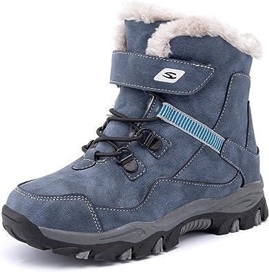 Boys Girls Kids Snow Boots Faux Fur-Lined Mid Calf Warm Ski Boots