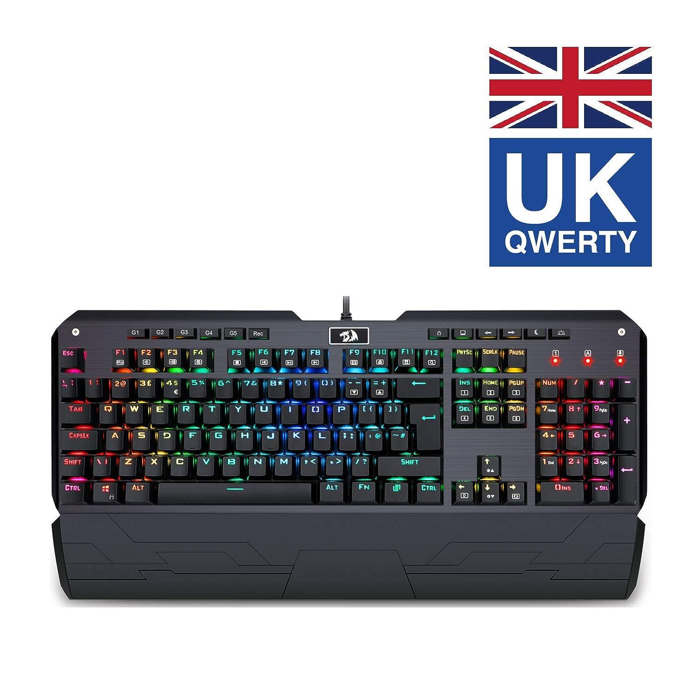 Redragon K555 Mecánico Teclado Gaming con Reposamuñecas Y Azules Conmutadores, 104 Teclas INDRAH RGB LED Retroiluminado Iluminado PC Gaming Teclado con ...