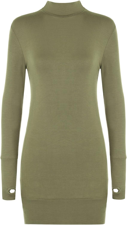 Women Stretch Bodycon Polo Long Sleeve Top Ladies Thumb Hole Short Dress 8-14