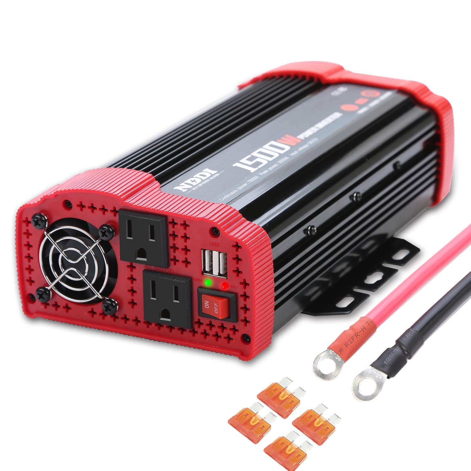1500W Car Power Inverter, 12V DC to 110V AC Car Converter Charger Adapter with Dual 3.1A USB Port and AC Outlets, Quick Charging Inverter for RV, Camping, Emergency, Hurricane Storm Outage