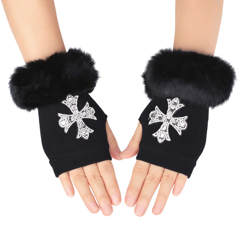 Flammi Women's Knit Fingerless Gloves Mittens with Thumb Hole Wrist Warmers Faux Furry Cuff F Flammi