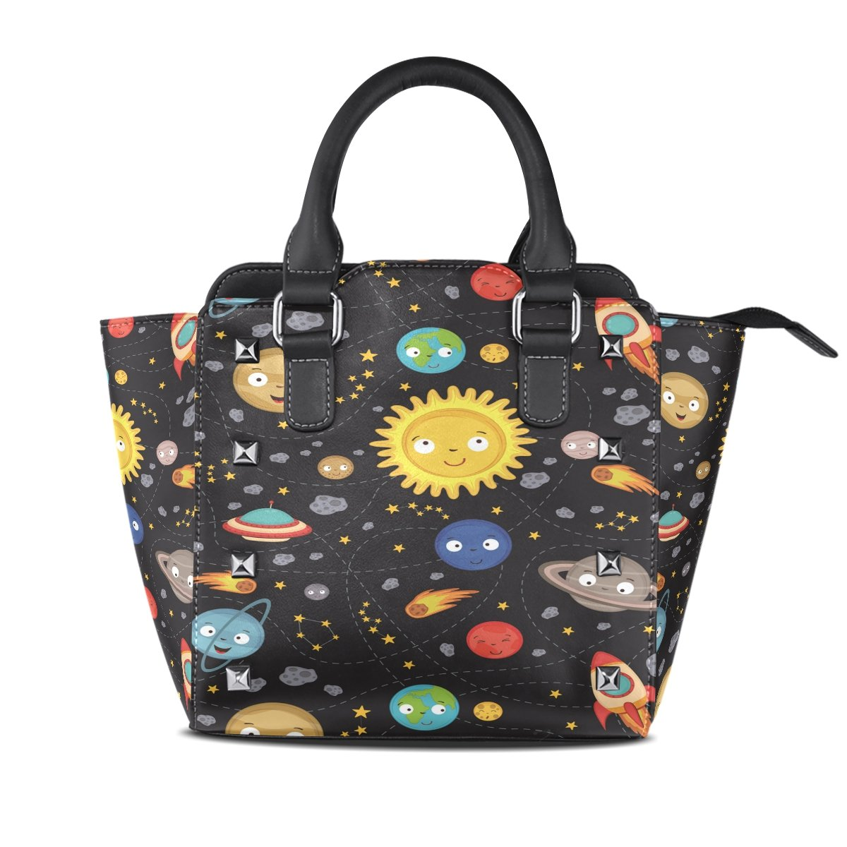 Womens Genuine Leather Hangbags Tote Bags Celestial Body Purse Shoulder Bags