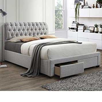 5d54d5882fbc Chesterfield Fabric Sleigh 2 Drawer Storage Bed, Happy Beds Valentino  Modern Light Dove Grey Bed