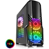 CiT G Force Mid-Tower RGB PC Gaming Case, ATX, Windowed Side Panel, Excellent Cooling Support, 3 x 120mm RGB LED Fans Included, Watercooling Ready, Hub & IR Remote Controller Included | Black