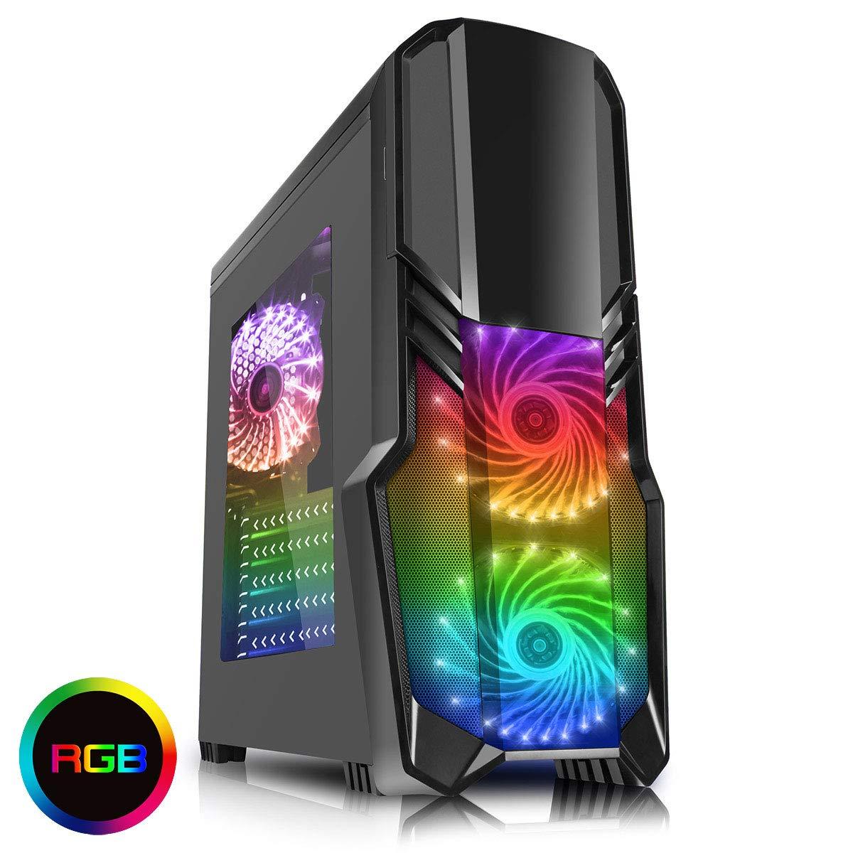 CiT G Force - Alloggiamento per PC per videogiochi, con ventola a 15 LED blu frontale nero Blk RGB