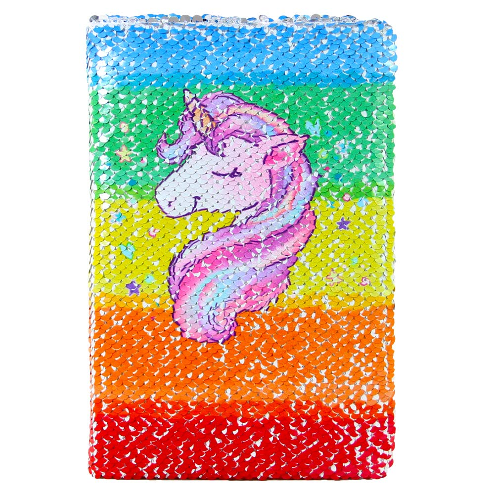 ICOSY Unicorn Mermaid Notebook Sequin Journal Wirebound Notebook Reversible Sequin Office Notebook Mermaid Notepad School Diary for Girls Adults Festival Unicorn Gifts