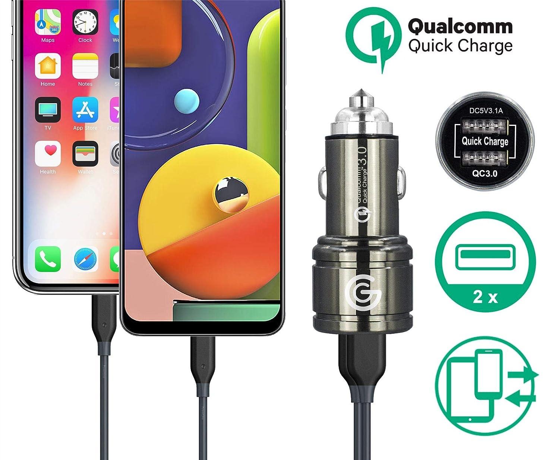 QC 3.0 Carga r/ápida y r/ápida Cargador de coche de 2 puertos 6 A de carga r/ápida USB dual de 40 W con tecnolog/ía inteligente IC para Xiaomi Mi 9T 9T Pro Mi 9 Mix 3 Poco F1 Redmi 7 Mix 2