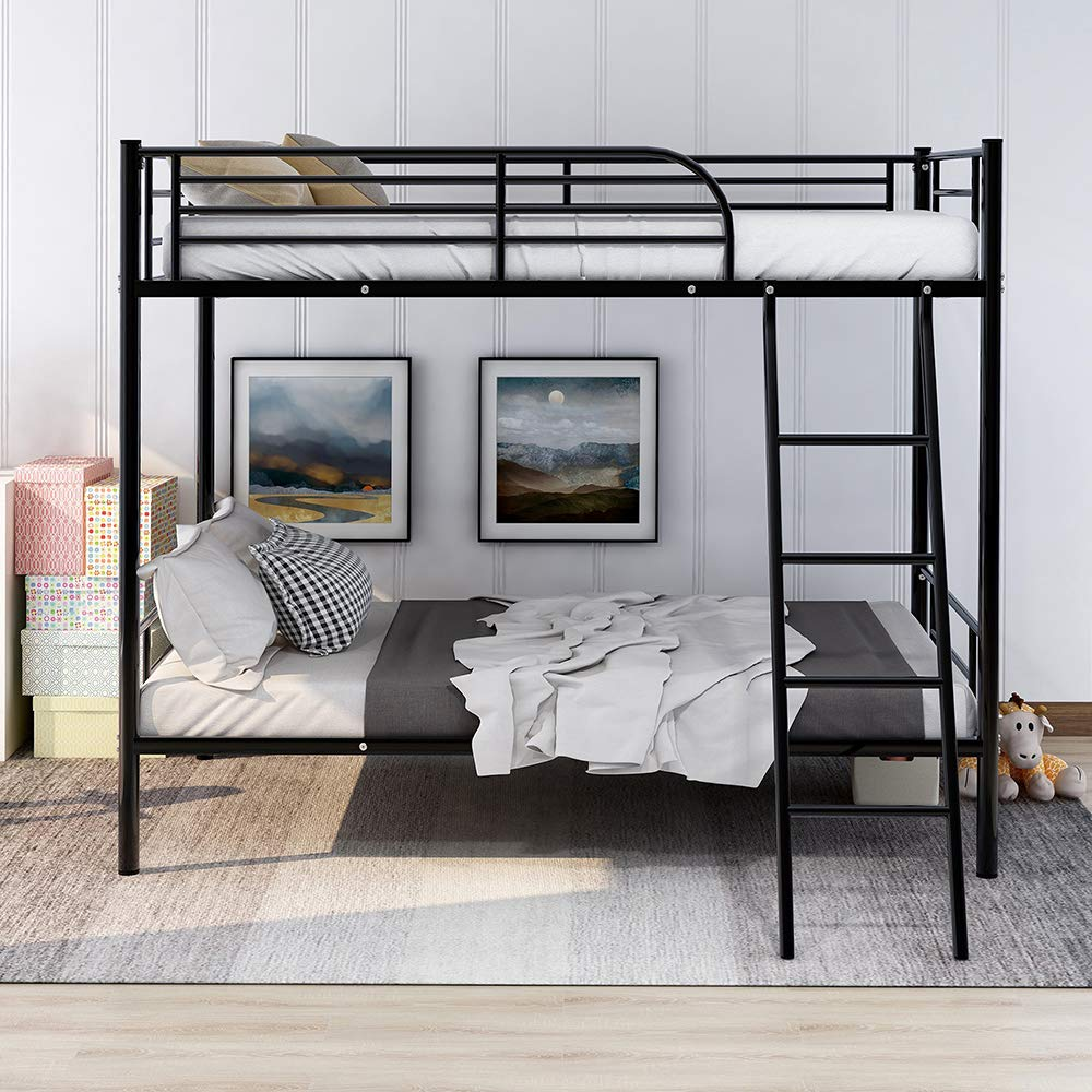 Romatlink Metal Bunk Bed Twin Over Twin Heavy Duty Bed Frame with Safety Guard Rails Flat Ladder with Rubber Cover for Kids Bed Bedroom, with Black Powder Coat Finish