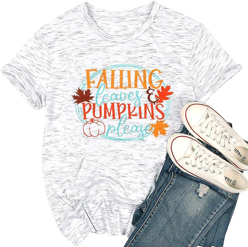 Thanksgiving T-Shirt Women Falling Leaves Pumpkins Please Letter Tee Shirt Fall Maple Leaf Graphic Print Tee Top
