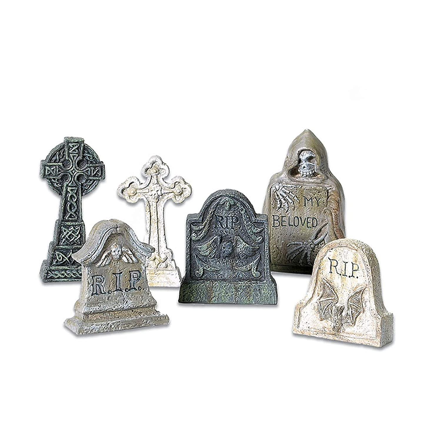 Department 56 Accessories for Villages Halloween Tombstones Accessory Figurine (Set of 6) (56.53065)