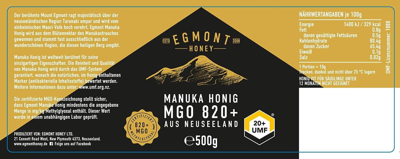 Egmont Honey Miel de Manuka 820+ MGO original de Nueva ...