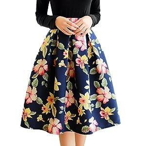 Novias Women Fashion High Waist Flare Pleated Flower Midi A-Line Skirt Skater Skirt Christmas Gift(Flower)