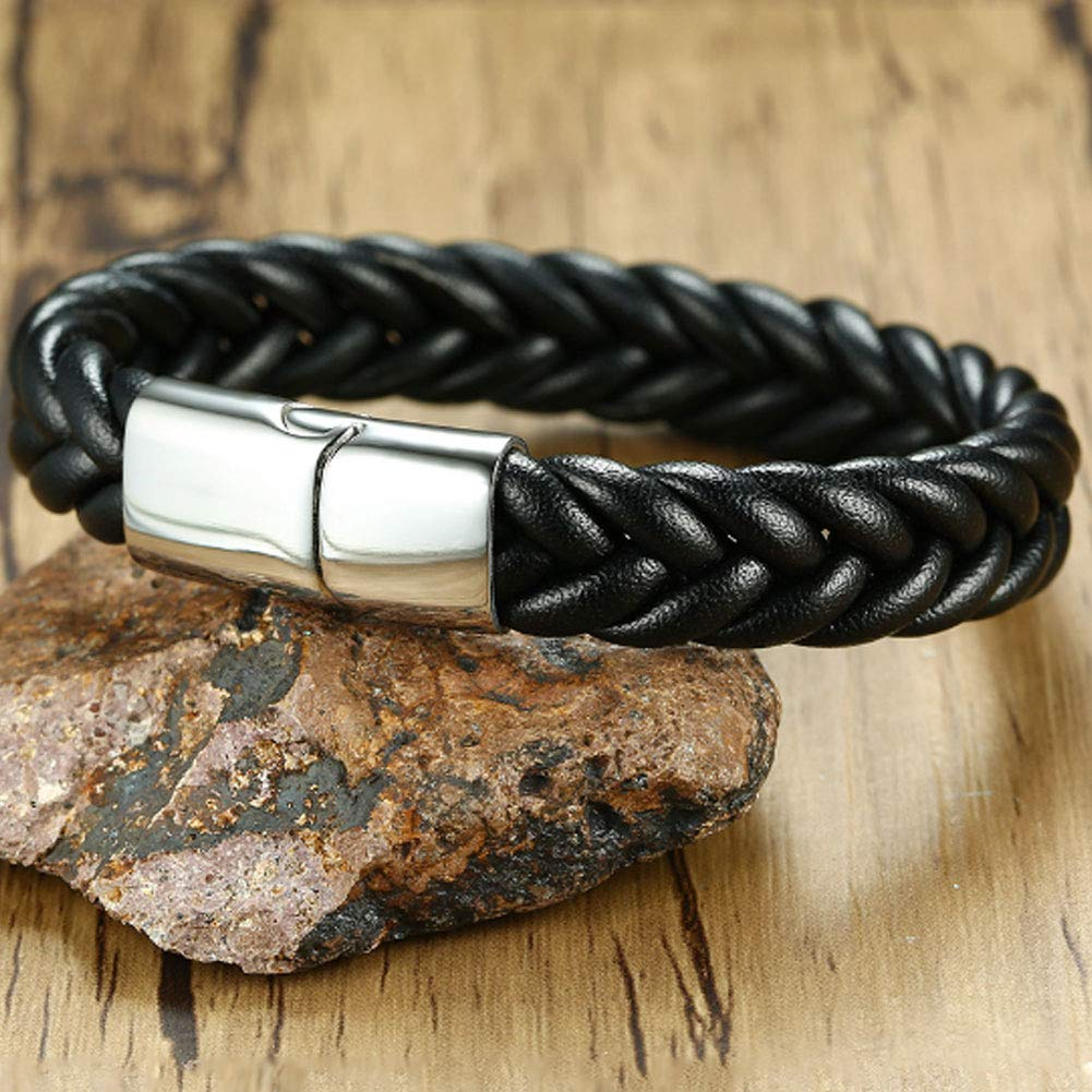 8.47 Nanafast Engraving Customized Magnetic Clasp Bangle Bracelets Black Genuine Leather Braided Bracelets