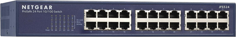 NETGEAR 24-Port Fast Ethernet 10/100 Unmanaged Switch (JFS524) - Desktop/Rackmount, and ProSAFE Limited Lifetime Protection