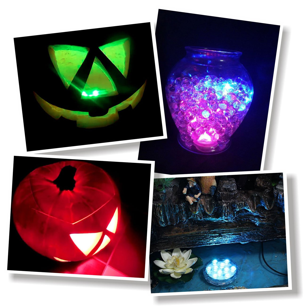 16 Colors 4 Modes and Battery Powered Submersible Lights with Remote Durawell RGB Color Changing LED Lights 4-Pack