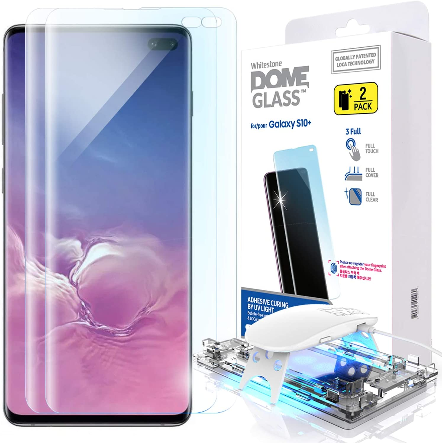 Galaxy S10 Plus Screen Protector, [Dome Glass] Full 3D Curved Edge Tempered Glass [Exclusive Solution for Ultrasonic Fingerprint] Easy Install Kit by Whitestone for Samsung Galaxy S10+ (2019) - 2 Pack