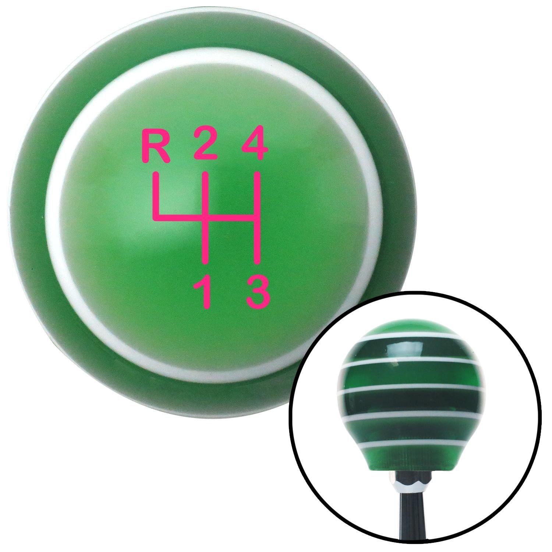 American Shifter 127396 Green Stripe Shift Knob with M16 x 1.5 Insert Pink Shift Pattern 8n