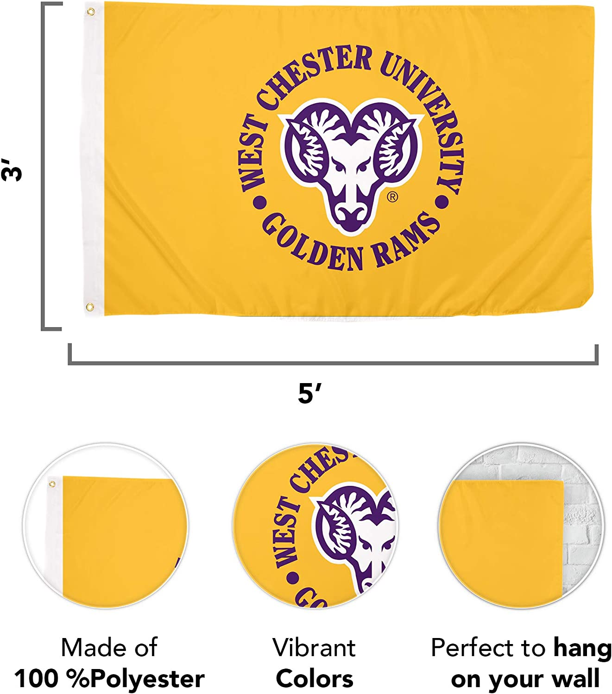 Desert Cactus West Chester University WCUPA Golden Rams NCAA 100/% Polyester Indoor Outdoor 3 feet x 5 feet Flag Style 2