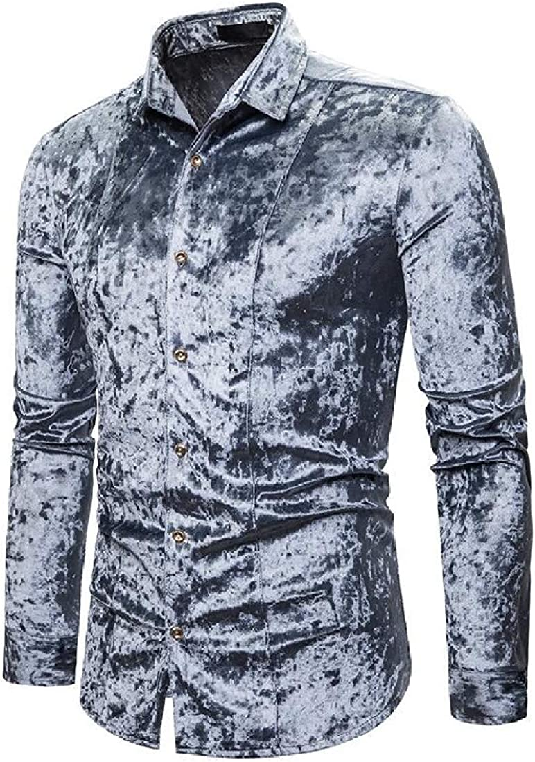 Hajotrawa Mens Velour Long-Sleeve Solid Regular Fit Button-Down Shirt