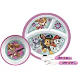 Zak Designs PWPG-2880 4 piece Break resistant and BPA free Plastic Toddlerific Paw Patrol Girl Mealtime Set includes Sectioned Plate, Bowl and Flatware Utensils, Multicolor