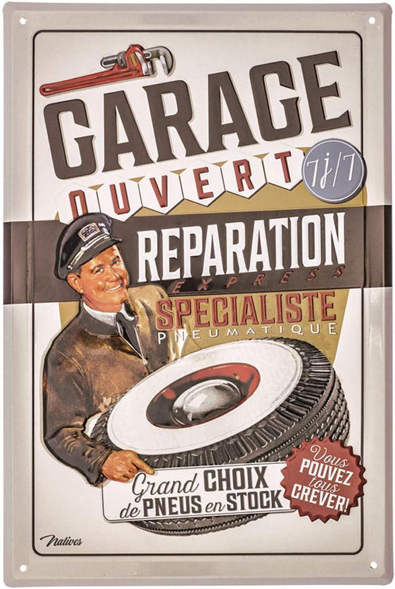 Q6960 - Plaque m/étal French Vintage - 30x20 cm Garage Ouvert - R/éparation Express - Vous Pouvez Tous crever ! Les Tr/ésors De Lily