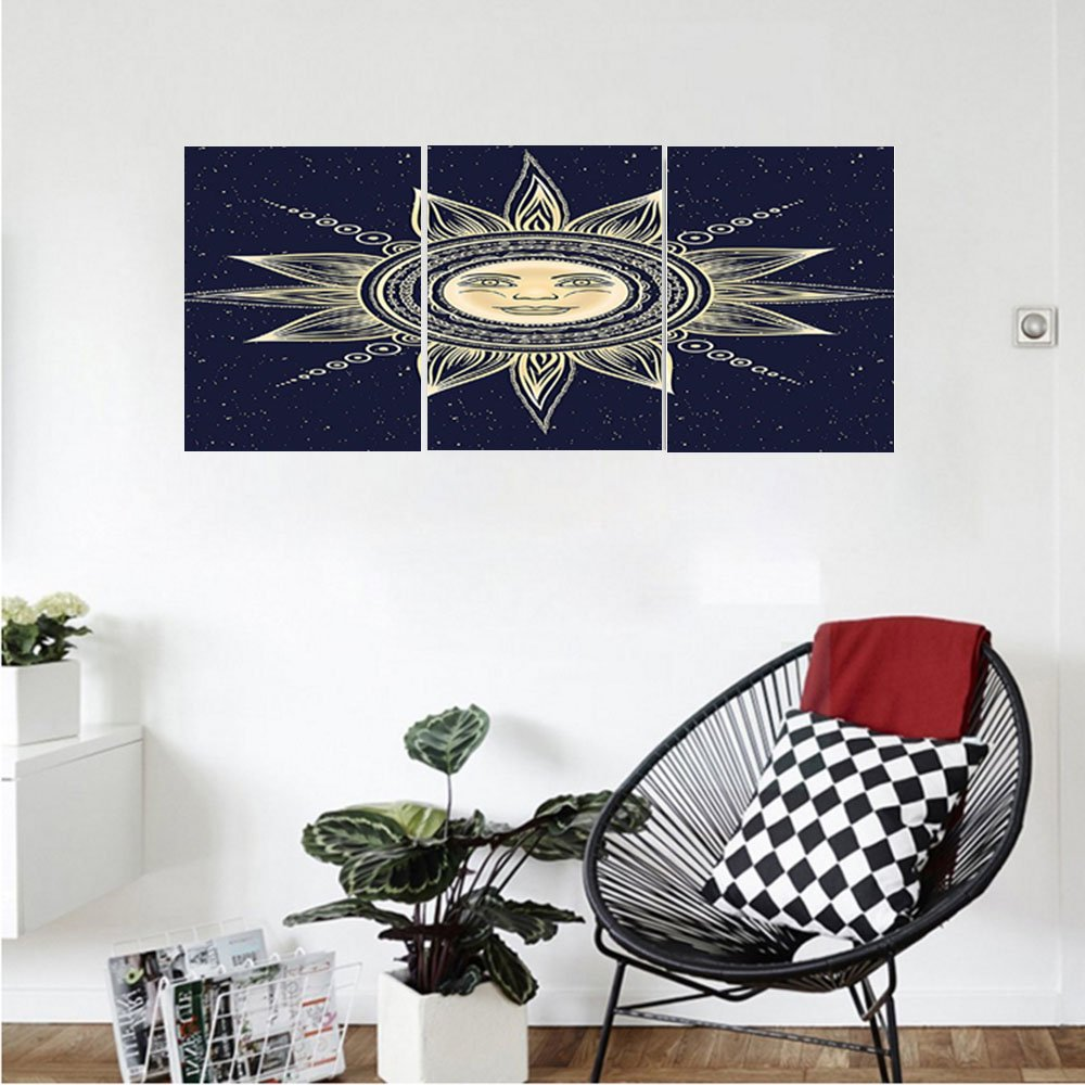 Liguo88 Custom canvas Psychedelic Vintage Occult Sun with Face Boho Chic oteric Solar Spiritual Display Wall Hanging for Bedroom Living Room Yellow Dark Blue