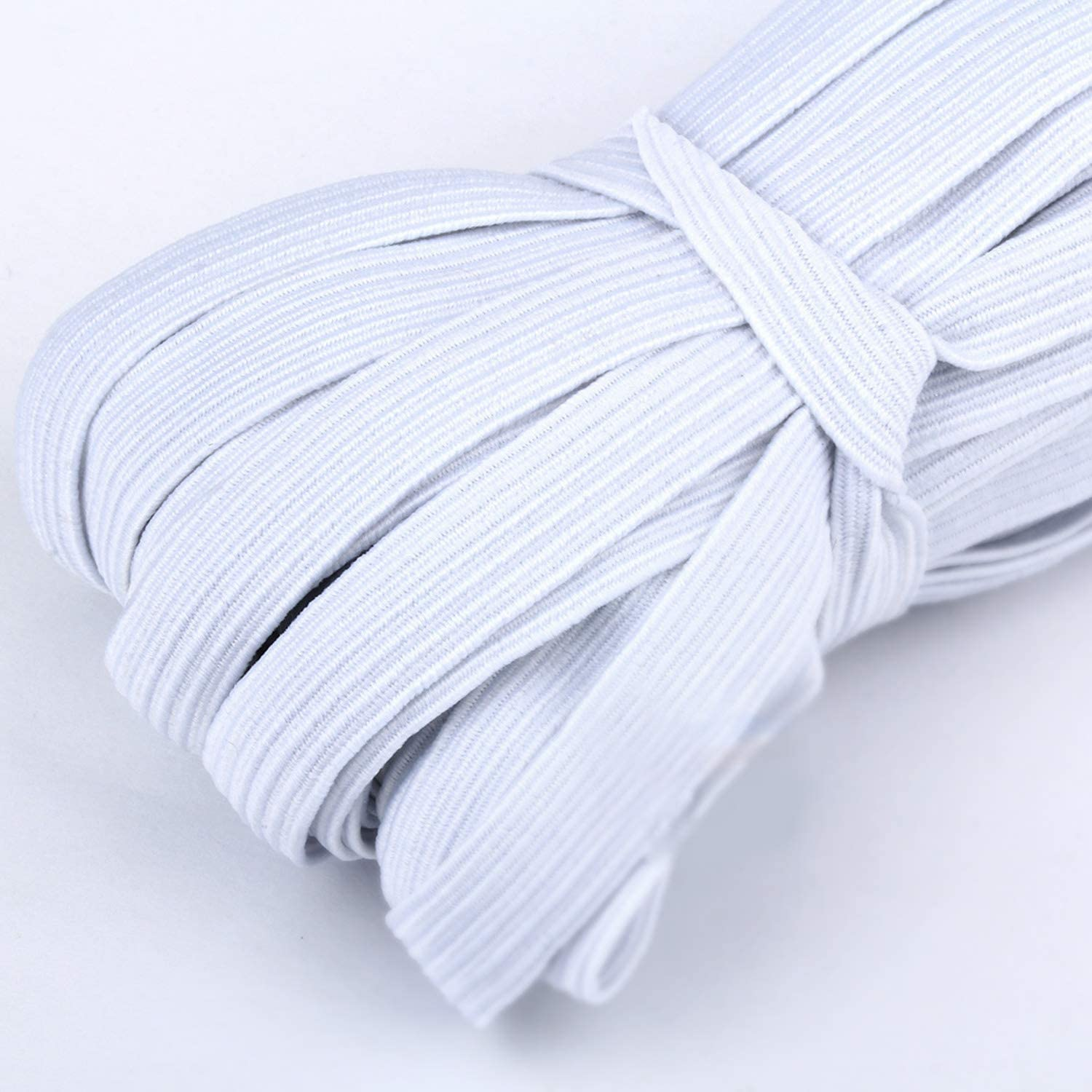 100Yards Length 1//4 Inch Width Braided Elastic Band White Elastic String Cord Heavy Stretch High Elasticity Knit Elastic Band for Sewing Craft DIY White